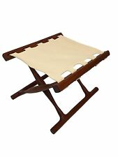 Danish Mid Century Modern Folding Teak Foot Stool Ottoman Chair,  Poul Hundevad
