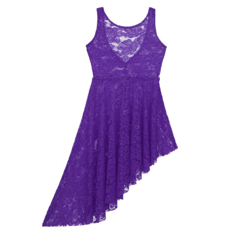 Kids Girls Floral Lace Lyrical Dance Dress Irregular High-Low Skirt Dancewear