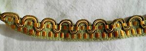 Galon-passement-ancien-pour-ameublement-350cm-x-1-2cm-vert-et-or-neuf-vintage