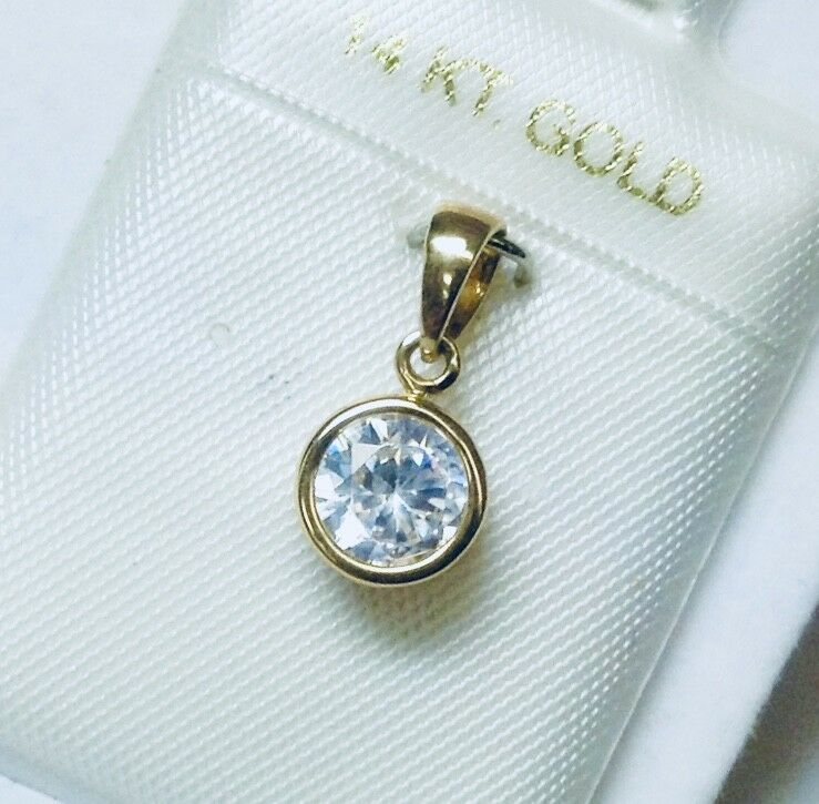 Brand New 14K Yellow gold White Pink Cubic Zirconia Charm Pendant CHOOSE DESIGN