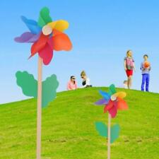 QINREN Wood Sunflower Windmill Wind Spinner Pinwheels Home Garden Yard Decoration Kids,Blue,Plastic