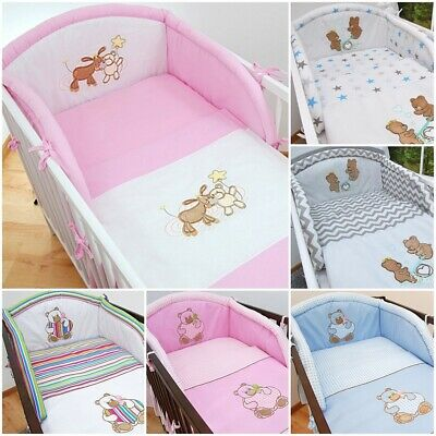 3 Pcs Baby Cot Cot bed Bumper Set Duvet Cover Pillowcase Owl Embroidery
