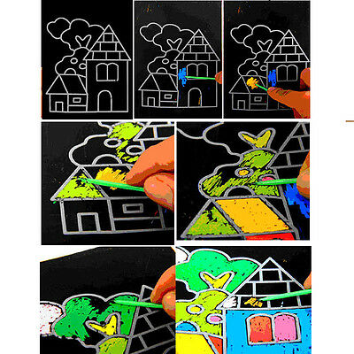 1-10X Magic Scratch Art Painting Paper With Drawing Stick Kids Educational Toy R