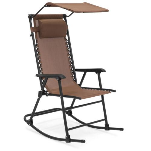 BCP Folding Zero Gravity Mesh Rocking Chair w// Sunshade Canopy Steel Frame