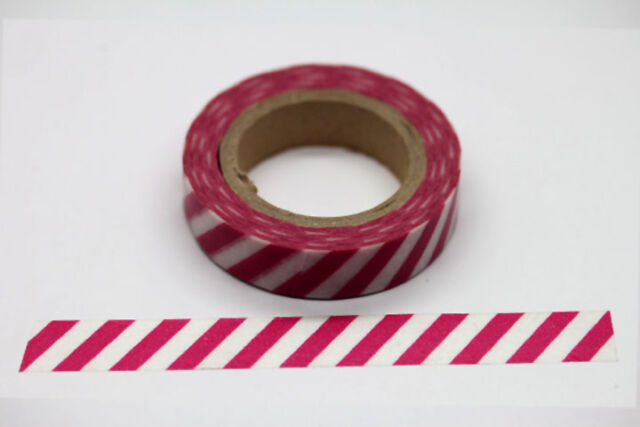 "11Yards Washi Tape Red White Stripes 3/8"" (10mm)  Decoration Paper Masking  W007"