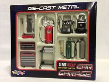 Die-cast Metal Car Garage Accessories 1:18 Scale, 10 pcs Garage Equipment
