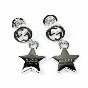 ded56157b0f Image is loading GUCCI-EARRINGS-Trademark-with-star -pendant-rhodium-YBD356252001-