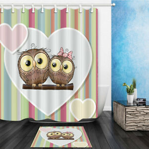 Image Is Loading Two Loving Cute Owl Decor Bathroom Shower Curtain