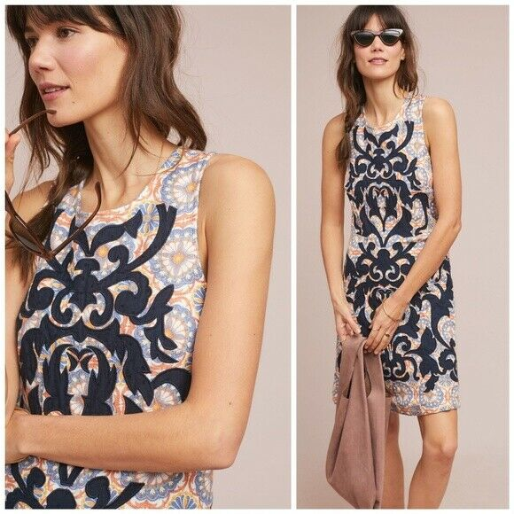 NWT ANTHROPOLOGIE SZ 6 VANESSA VIRGINIA OWEN EMBROIDErot SHIFT SLEEVELESS DRESS