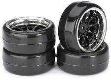"""RC Car Wheel Set Drift LP """" 9 Spoke / Profile B"""" black/chrome 1:10 (4 pcs) TT-01"""