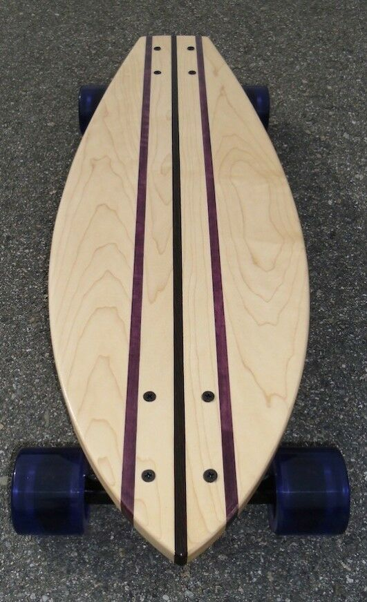 Longboard made of Solid Wood - Whitehaven - maple and purpleheart