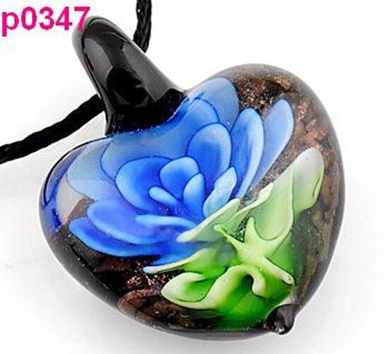 Beautiful  Flower art lampwork glass pendant necklace