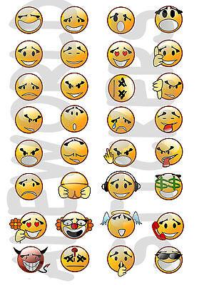 ADESIVI STICKERS PICCOLI mini EMOTICONS SMILEY DECORATIVI MULTIUSO BUSTINA 10x14