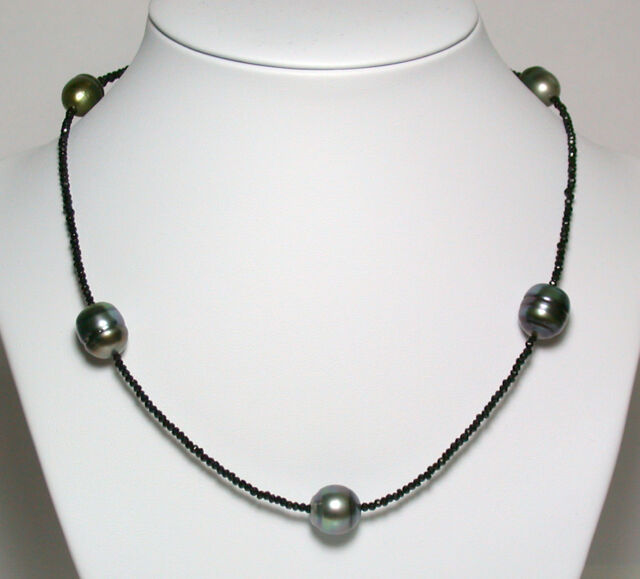 10.5x11-12.5x14mm AA+ quality Tahitian pearl, spinal & sterling silver necklace
