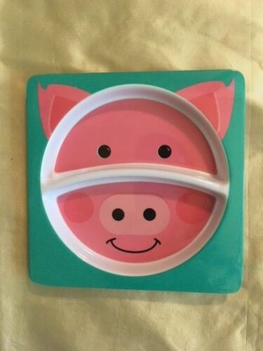 """CHILDRENS TODDLERS DIVIDED MELAMINE PLATE /""""PIGGY/"""" /& /""""DAY AND NIGHT/"""" NEW"""