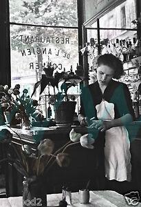 Paris French Black White Photo Poster Shop Girl 1950 S