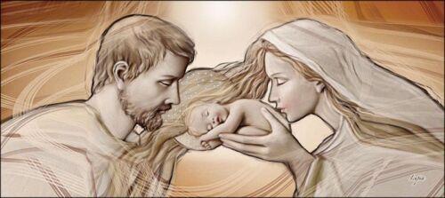 Quadro su tela religioso Sacra FamigliaHoly Kiss ® con cristalli Swarovski