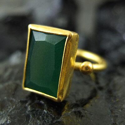 Handmade Turkish Designer Emerald Ring 22K Gold Over 925K Sterling Silver