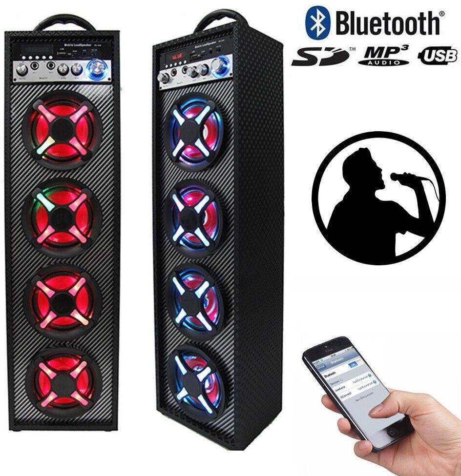 s l1600 - Altavoz portátil con karaoke bluetooth entrada para 2 microfonos altavoces torre