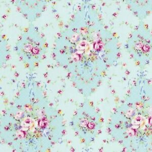 Cottage-Shabby-Chic-Lecien-Rococo-amp-Sweet-Floral-Fabric-31861L-70-Blue-BTY