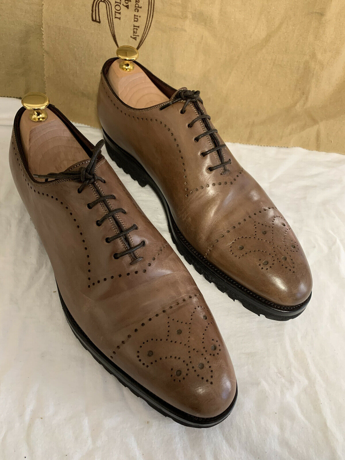 KITON Brown Wholecut Balmoral with Punched Detail US 10.5 Shoes