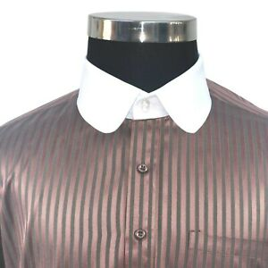 Peaky Blinders Round collar Mens Maroon oxford Cotton shirt Penny Club for Gents