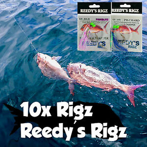 10x-snapper-Snatchers-rig-5-0-Pink-Flasher-Hook-60lb-Paternoster-Flasher-Rigs