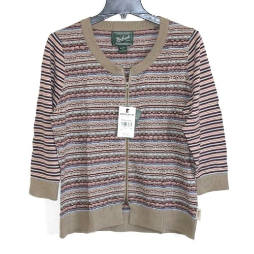 Woolrich L NWT Fair Isles Striped 100% Cotton ZipUp Cardigan Sweater