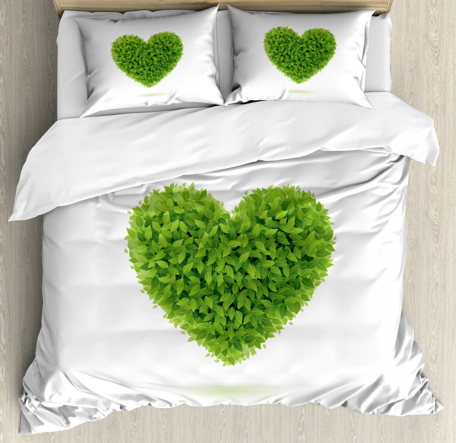 Grün Duvet Cover Set with Pillow Shams Heart with Fresh Leaves Print