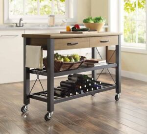 Details about Small Kitchen Cart Island Rustic Farmhouse Utility Smart TV  Stand Storage Wheels