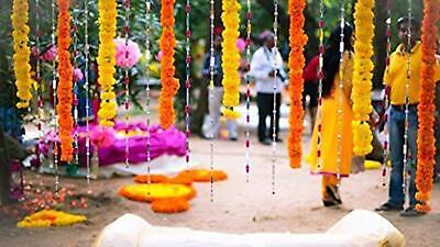 for Parties Home Decoration Indian Festival Dark Orange Decorations Indian Weddings Diwali Plastic Artificial Flowers Marigold Garlands for Decoration Genda phool mala 5 Feet Long