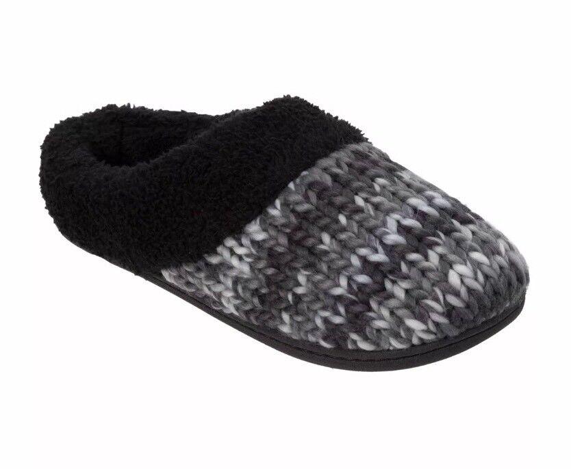 Dearfoam Clog Slippers Women's Indoor/Outdoor Knit Dye Black Size Medium 7-8 NEW