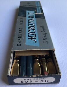 Vintage-Eberhard-Faber-Microtomic-603-Pencil-3H-Box-Of-6-Black-Band-Gold-Ferrule