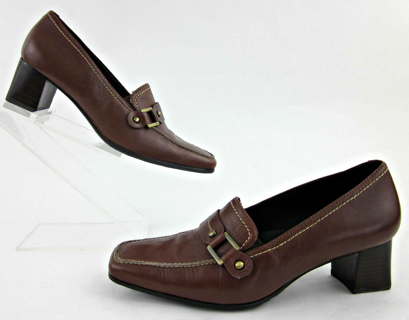 ECCO Moc Toe Low Slip Heel Slip Low On Shoes Brown Leather / US 6-6.5 81fea9