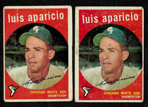 1959 TOPPS #310 lot of 2 LUIS APARICIO CHICAGO WHITE SOX HALL OF FAMER