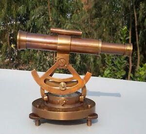 Vintage-Telescope-Nautical-Survey-Tool-Antique-Brass-Alidade-Transit-Compass