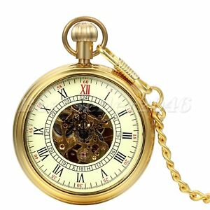 95a473d11 Image is loading Luxury-Gold-Tone-Open-Face-Skeleton-Steampunk-Mechanical-