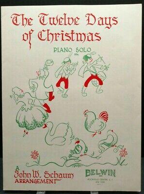 The Twelve Days Of Christmas Sheet Music Piano Solo Lyrics Christmas CarolingF2W | eBay