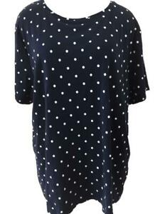 Croft-Barrow-classic-tee-knit-top-Size-2X-short-sleeve-blue-white-polka-dots