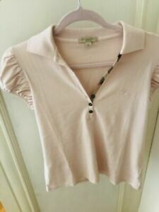 Burberry-Brit-Women-s-Pink-Short-Puff-Sleeve-Polo-Check-Shirt-M-Netaporter