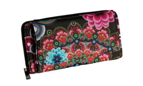 Damen Geldbörse Ethno Blumen mit Handyfach Portemonnaie Umhängetasche Crossbody