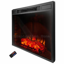 """33""""  Electric Fireplace Insert Free Standing Firebox Heater 3D Flame Logs Remote"""