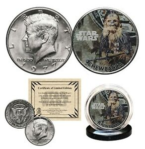 CHEWBACCA-STAR-WARS-Genuine-1977-JFK-Kennedy-Half-Dollar-US-Coin-LICENSED