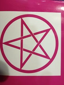 Pentagram-Vinyl-Decal-Hot-Pink-Size-90-Mm-By-90-Mm