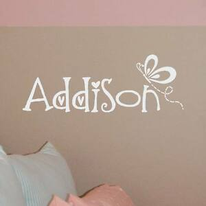 Details about Name w/ Butterfly personalized wall decal, girl bedroom vinyl  lettering
