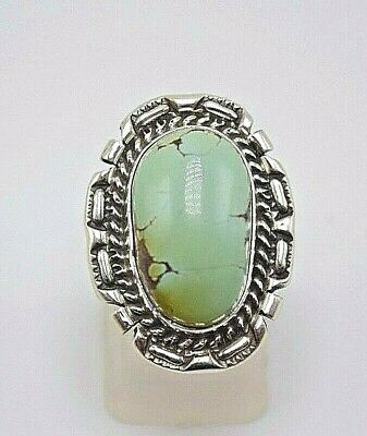 Silver Navajo Handmade Kingman Turquoise Ring Sterling Silver