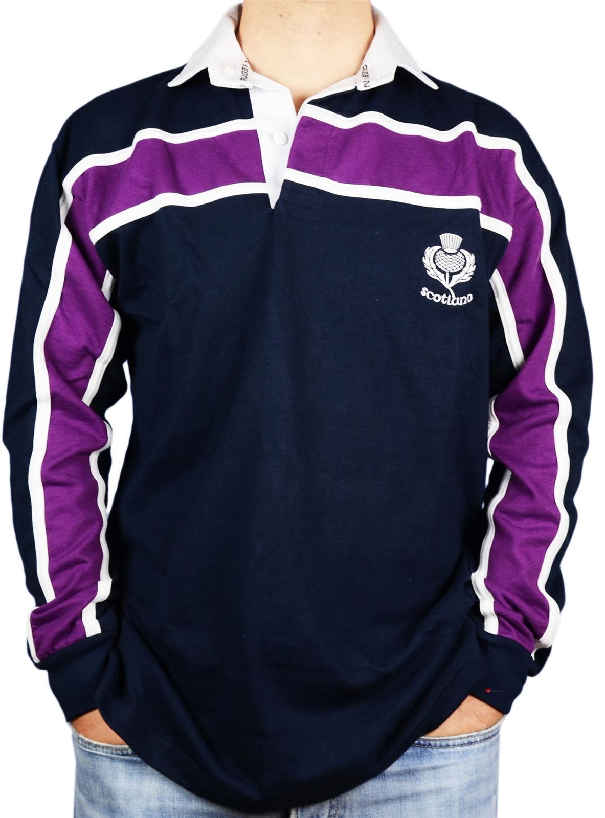 Scottish Gents Rugby Shirt lila Stripe Long Sleeve Navy Größe X-Small    Spezielle Funktion