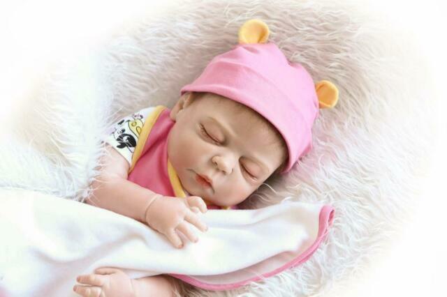 """23/"""" Silicone Reborn Baby Sleeping Doll Soft Vinyl Lifelike Newborn Boy"""