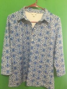 8533-TALBOTS-medium-M-blue-paisley-polyester-knit-top-pullover-1-2-button