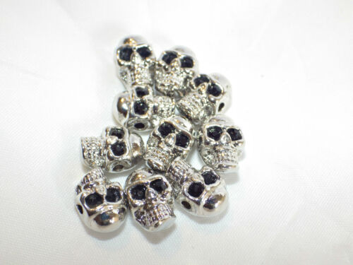 10 x Rhodium Plated Zinc Alloy Skull Beads Side Holes 9x13mm